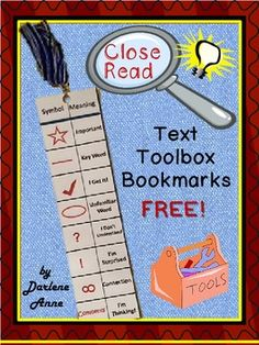 "Free Close Read and Annotation Bookmarks: These bookmarks can be printed five per page, back-to-back, and can then be laminated for durability. They can be used until students become accustomed to annotating. With practice, students will ""dig deeper""! Reading Lessons, Reading Resources, Reading Activities, Reading Skills, Teaching Reading, Teaching Ideas, Guided Reading, Teaching Tools, Close Reading Strategies"