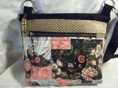 Crossbody VI Handbag, In black, peach or pink, Floral and mixed media look fabric, adjustable strap by ChickadeeHillDesigns on Etsy
