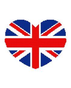 British Heart UNION JACK Graph Chart Pattern  by MadeEspecially, $3.75