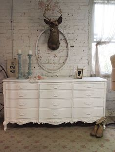 Painted Cottage Chic Shabby White French Dresser