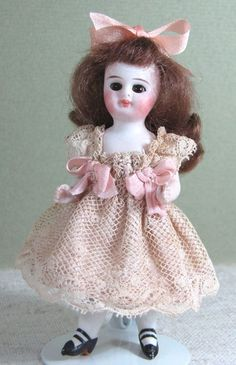 3 1/2 inch tall Antique All Bisque Doll w Glass Eyes Pegged & Pretty! from aquietplace on Ruby Lane