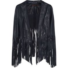 Kate Moss for Topshop Fringed leather jacket (€290) ❤ liked on Polyvore featuring outerwear, jackets, coats & jackets, coats, tops, blue, casual jackets, blue jackets, topshop and genuine leather jackets
