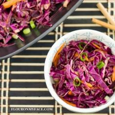 Red Cabbage Asian Slaw recipe is a perfect side dish recipe for all your favorite Asian food recipes. Serve it with any of your favorite Asian recipes. Salad Recipes Healthy Lunch, Chopped Salad Recipes, Salad Recipes Video, Salad Recipes For Dinner, Slaw Recipes, German Red Cabbage Recipes, Asian Slaw, Greek Yogurt Recipes
