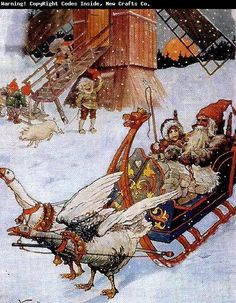 Gnome in viking sled pulled by ducks?::