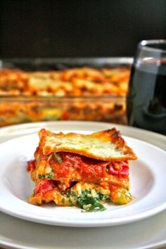 whole wheat, low-fat vegetable lasagna. In need of some  healthy comfort food after a busy weekend.