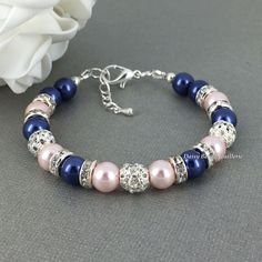 Navy Blue Bracelet, Navy and Light Pink Bracelet, Bridesmaid Gift, Navy and Blush Bracelet, Navy Blue Jewelry, Bridesmaids Bracelet, Wedding by DaisyBeadzJoaillerie on Etsy https://www.etsy.com/listing/204279749/navy-blue-bracelet-navy-and-light-pink