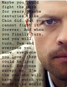 If you think about it in Castiel's own words he doesn't think Dean cares or loves him. *cries* DEAN DOES LOVE YOU!!!!