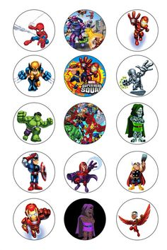 SUPER HERO 1 inch Bottle Caps Images / Digital by GELATODESIGN :  pour mémo, loto, pions ....