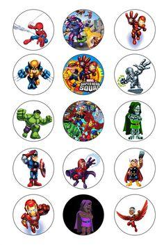 SUPER HERO 1 inch Bottle Caps Images / Digital by GELATODESIGN,