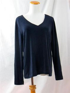 Chico's Travelers Womens Blouse Top Shirt Dark Navy Blue Size 2 12 14 Large | eBay