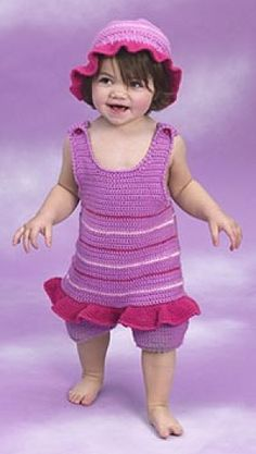 Crocheted tutu onesie and hat.  Level:easy  (Leave off ruffle, and it works for a boy, too.)