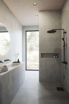 Minimalist Bathroom, Modern Bathroom, Small Bathroom, Bathroom Bath, Bath Tubs, Concrete Bathroom, Remodel Bathroom, Stone Bathroom, Light Grey Bathrooms