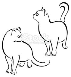 Cat Design Set Line Art stock vector art 3745570 - iStock