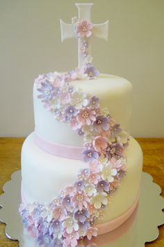 Delicate flowers Communion cake by Whimsy Girls Cakes