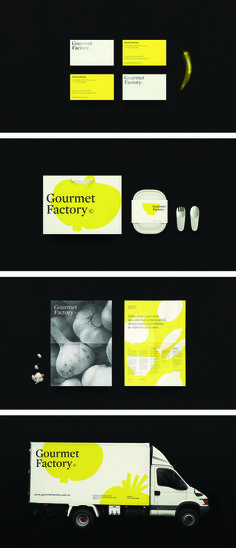 Gourmet Factory offers catering services to public and private companies, colleges, schools, clinics and hospitals. With emphasis on the freshness of their ingredients, lemon yellow accentuates the brand's goal to provide quality meals and time off amidst work, studies or battles against illnesses. Black hot-stamped logotype on business cards and letterhead reinforces a sense of credibility founded on their pursuit of excellence starting from their pick of materials.