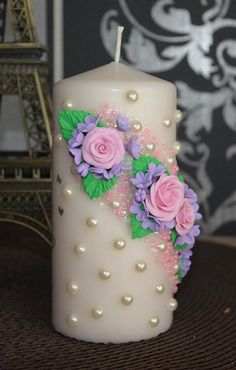 Candle Centerpieces, Diy Candles, Pillar Candles, Decorative Candles, Candle Art, Shabby Chic, Christmas Candle, Christmas Crafts For Kids, Flower Decorations