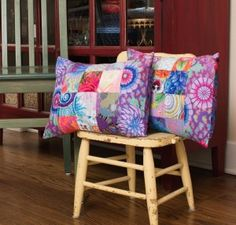 Easy Quilt KIT - Rowan Kaffe Fassett Patchwork Center Pillows. Everyone can make this - even without any quilting experience. http://quilting.myfavoritecraft.org/easy-quilt-patterns/