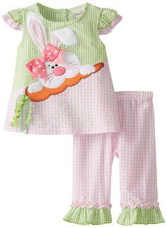 Toddler Girls Easter Dress Set Rare Editions Little Girls Pink Lime Bunny Seersucker Capri Set