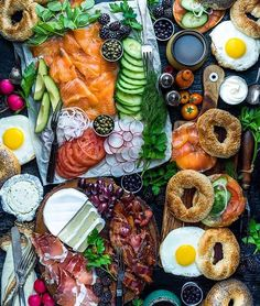 The ultimate Saturday bagel spread via @dennistheprescott. #thisisfall #foodandwine