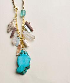 Turquoise Quartz Necklace Beaded Necklace Boho by inhersummerdress, $32.00