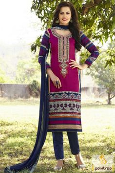 Amazingly charming Akshara Heena Khan pink and white salwar kameez ...