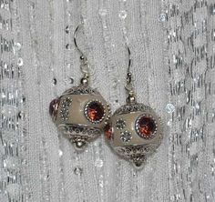 MIN Favorit Grey Clay Berry Crystal and Antique Silver Artisan Earrings Fun | eBay