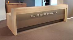 Front reception desk by Frilseth Design. Oak wood.