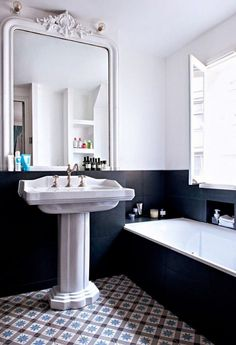 mid century modern bathroom decor black and white half wall antique mirror Bathroom Renos, White Bathroom, Bathroom Interior, Master Bathroom, Charcoal Bathroom, Master Baths, Bathroom Remodeling, Minimal Bathroom, Mirror Bathroom