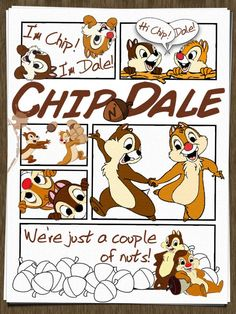 """Chip n' Dale - Project Life Filler Card - Scrapbooking. ~~~~~~~~~ Size: 3x4"""" @ 300 dpi. This card is **Personal use only - NOT for sale/resale** Logos/clipart/photo belong to Disney. Font is Dunton Writing http://www.dafont.com/duntonwriting.font . Acorns, speech bubbles & coffee mark from www.clker.com ."""
