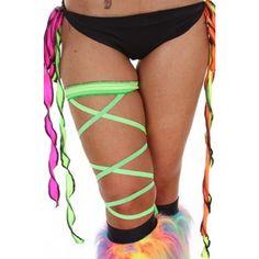 Leg Garter Wrap - Lime Green $13.95 #flirtla #edm #ravewear #rave #sexy #costume #straps