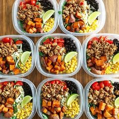 Turkey Taco Bowls with lean ground turkey roasted sweet potatoes corn black beans cherry tomatoes cheese baby kale and a little lime on the side. Lunches for Mon thru Thurs for me and my husband.