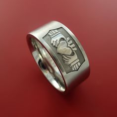 Cobalt Chrome Celtic Irish Claddagh Ring Hands Clasping a Heart Band Carved Any Size Ring