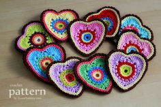 Crochet Pattern - Sweet Crochet Heart Ornaments/Appliques (Pattern No. 025)