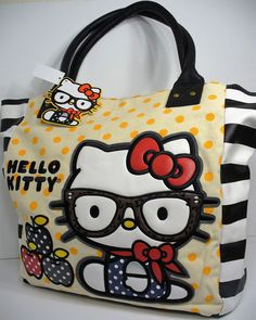 dde36a5194 Loungefly Hello Kitty Preppy Kitty Nerd   Apples Tote Bag Purse Sanrio New