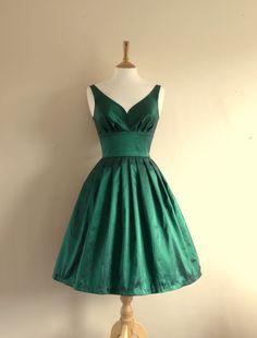 Emerald Green Taffeta Prom Dress - Made to Measure by Dig For Victory -Made by Dig For Victory