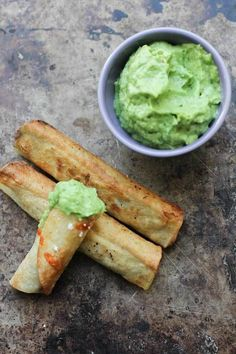 Vegan Black Bean Flautas with Avocado Dipping Sauce
