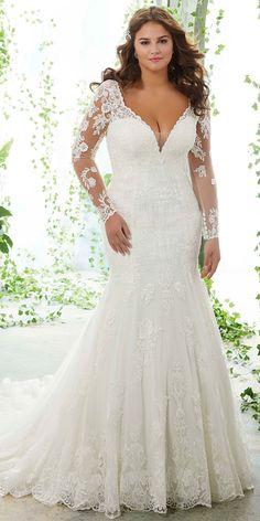 bbb7fe955f9  266.50  Modern Tulle V-neck Neckline Mermaid Plus Size Wedding Dresses  With Lace Appliques