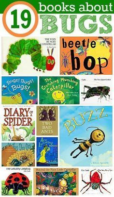 Inch your way to reading success with books about Bugs! Here is a compilation of bug book ideas from No Time for Flash Cards www.practickle.com Literacy is a hoot
