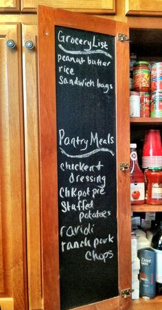Chalk board contact paper or dry erase paper for inside cabinet doors!