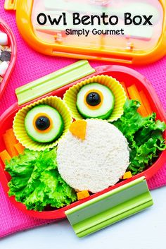 Owl Bento Box from Simply Gourmet (Use gluten-free bread if needed. Cold Lunches, Healthy Lunches For Kids, Toddler Meals, Kids Meals, Cute Food, Good Food, Bento Box Lunch, Bento Food, Cute Bento Boxes