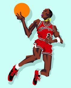 Michael Jordan  1985 Slam Dunk Contest  Caricature Art Jordan 23 1cdb8d5ca2