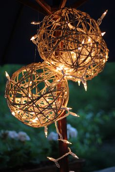 Rope lanterns- easy to make just use ballons, glue and twine and than use christmast lights to light up!