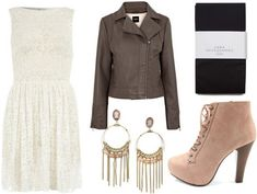 White Lace Dress + Motorcycle Jacket + Pink Gold Chandelier Earrings + Black Tights + Lace Up Jeffrey Campbell style Ankle Boots