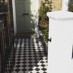 My front door and path. Just finished. Front door in French grey farrow and ball