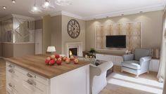 Salon z kuchnią w domu jednorodzinnym