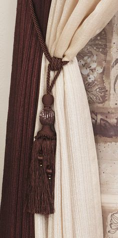 Add a decorative tieback to complete your windows look. #AnnasLinens #Curtains