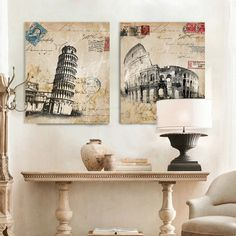 Italy Colosseum Pisa Leaning Tower Retro Building Canvas Art Poster Pictures For Living Room Decorative Home Decor