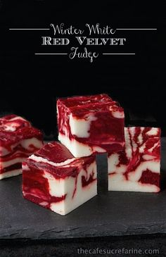 White Red Velvet Fudge - Microwave Method Winter White Red Velvet Fudge - both stove top and microwave version. Can't wait to try it this week.Winter White Red Velvet Fudge - both stove top and microwave version. Can't wait to try it this week. Just Desserts, Delicious Desserts, Yummy Food, Italian Desserts, Holiday Baking, Christmas Baking, Fudge Recipes, Dessert Recipes, Dessert Bread