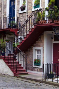 These staircases in Ramsay Gardens in Edinburgh, Scotland.