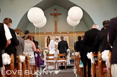 St. Catherine of Siena Church, balloons, purple and coral wedding